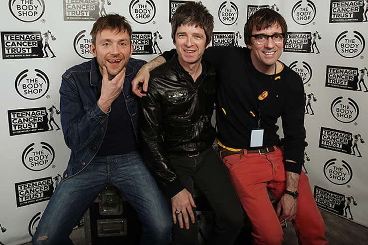 Noel Gallagher, Damon Albarn and Graham Coon