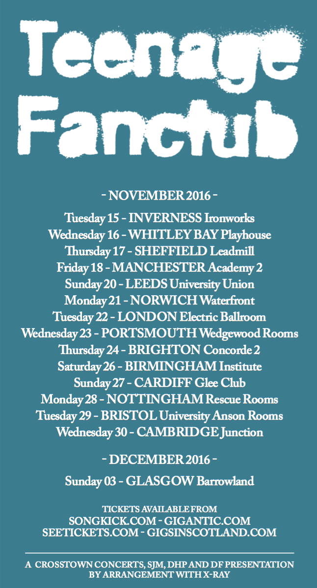 Teenage Fanclub tour dates poster