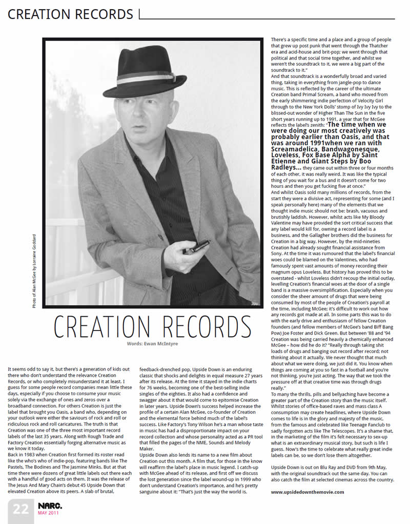 Alan McGee Narc May 2011