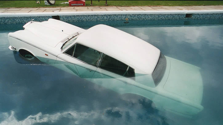 Rolls Royce in swimming pool at Be Here Now photo sessions